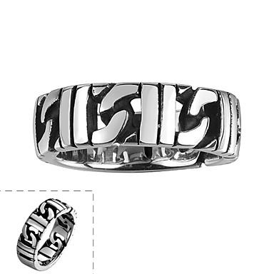 maya anel clássica indivíduo generoso único homem de aço inoxidável fora círculo vazio irregular (preto) (1pcs)