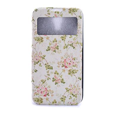 hoesje Voor Samsung Galaxy Samsung Galaxy hoesje Kaarthouder Portemonnee met standaard met venster Flip Volledig hoesje Bloem PU-nahka