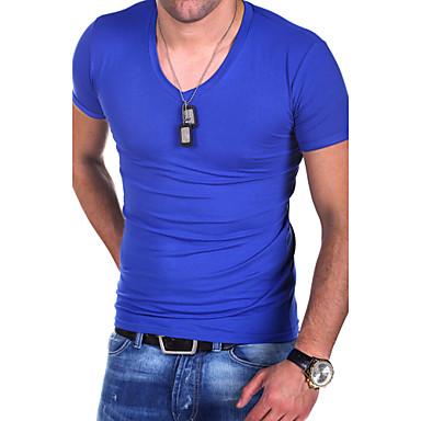 baratos Roupa de Homem Moderna-Homens Tamanhos Grandes Camiseta - Esportes / Trabalho Sólido Algodão Decote V Delgado Cinzento L / Manga Curta