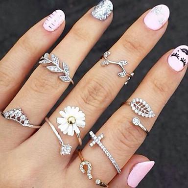 Mulheres Strass / Imitações de Diamante / Liga Formato de Folha / Flor Anéis para Falanges - Básico / Fashion Dourado / Prata Anel Para