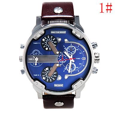 זול שעוני גברים-בגדי ריקוד גברים שעונים צבאיים קווארץ גדול עור שחור / חום / צבעוני 30 m אנלוגי 4# 5# 6# שנתיים חיי סוללה