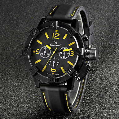 V6 Αντρικά Ρολόι Καρπού Χαλαζίας Γιαπωνέζικο Quartz σιλικόνη Μπάντα Μαύρο Λευκό Πορτοκαλί Κίτρινο Κόκκινο Μπλε