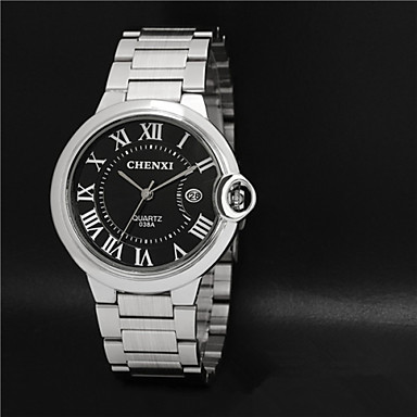 Masculino Relógio Elegante Impermeável Quartzo Quartzo Japonês Aço Inoxidável Banda Prata