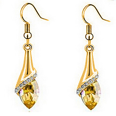 Brincos Compridos Cristal Zircônia Cubica Chapeado Dourado Áustria Cristal Dourado Cor Ecrã Jóias Para 2pçs