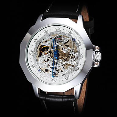 FORSINING Masculino Relógio de Pulso relógio mecânico Automático - da corda automáticamente Gravação Oca Couro Banda PretaDourado Branco