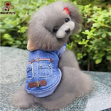 Cachorro Camisola com Capuz Jaquetas Jeans Roupas para Cães Vaqueiro Fashion Jeans Azul Ocasiões Especiais Para animais de estimação
