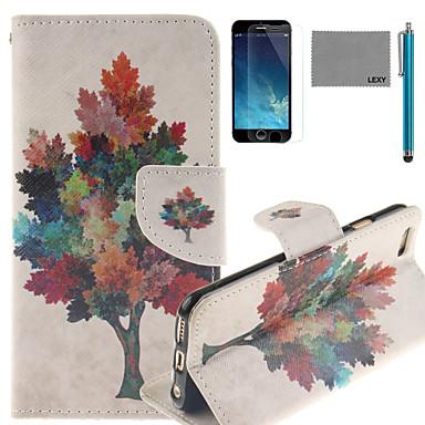lexy® padrão de árvore colorido pu estojo de couro corpo inteiro com protetor de tela e stylus para iphone 6 / 6s mais
