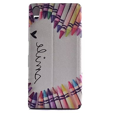 Voor Sony hoesje Xperia Z5 Hoesje cover met standaard met venster Flip Volledige behuizing hoesje Hart Hard PU-leer voor Sony Sony Xperia