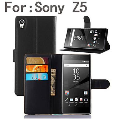 Για Θήκη Sony / Xperia Z5 Πορτοφόλι / Θήκη καρτών / με βάση στήριξης / Ανοιγόμενη tok Πλήρης κάλυψη tok Μονόχρωμη Σκληρή Συνθετικό δέρμα