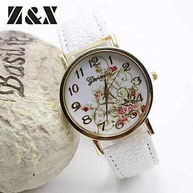 Mulheres Relógio de Moda Quartzo Couro Banda Flor Preta Branco Azul Vermelho Marrom Verde Rose