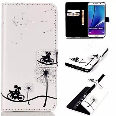 hoesje Voor Samsung Galaxy Samsung Galaxy Note Kaarthouder Portemonnee met standaard Flip Volledig hoesje Paardebloem PU-nahka voor Note 5