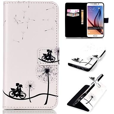 Para Samsung Galaxy Capinhas Carteira / Porta-Cartão / Com Suporte / Flip Capinha Corpo Inteiro Capinha Dente de Leão Couro PU SamsungS6