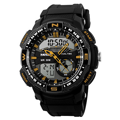 SKMEI Heren Polshorloge Digitaal horloge Kwarts Digitaal Japanse quartzLCD Kalender Chronograaf Waterbestendig Dubbele tijdzones alarm