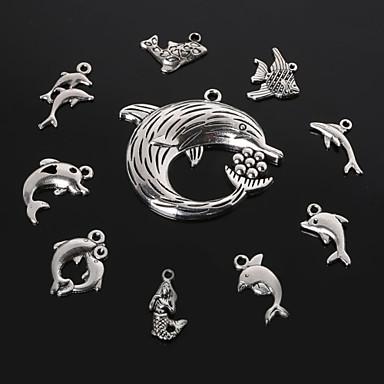 beadia antiek zilver metalen dolfijn haai zeemeermin vis charme hangers diy sieraden hanger 10 stijlen