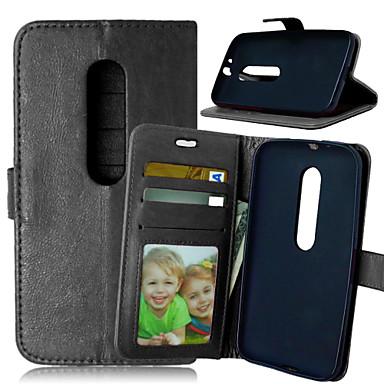 hoesje Voor Motorola Motorola hoesje Kaarthouder Portemonnee met standaard Flip Volledig hoesje Effen Kleur Hard PU-nahka voor
