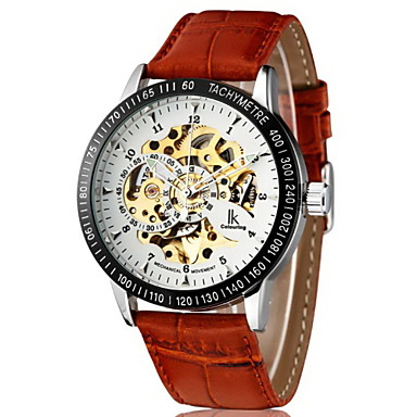 Men's Automatic self-winding Mechanical Watch Wrist Watch Hollow Engraving PU Band Luxury Brown