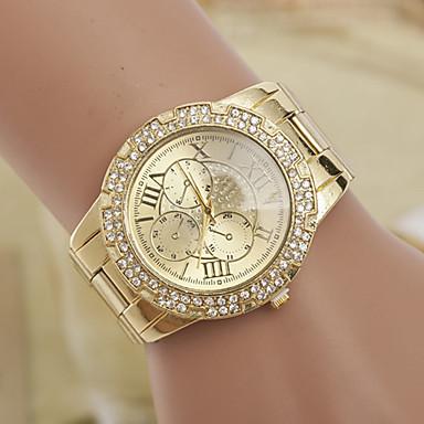 yoonheel Dames Gesimuleerd Diamant Horloge Modieus horloge Kwarts Zwitsers imitatie Diamond ontwerpers Metaal Band Amulet Goud
