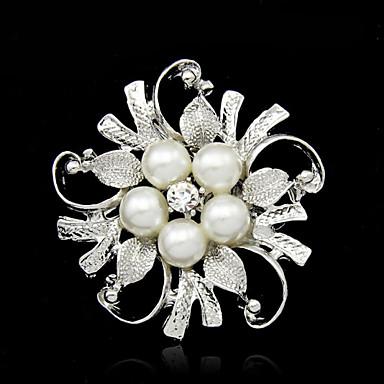 Pentru femei Perle Broșe Floare femei Modă Imitație de Perle Argilă Broșă Bijuterii Argintiu Pentru Nuntă Petrecere Ocazie specială Zi de Naștere Cadou Zilnic
