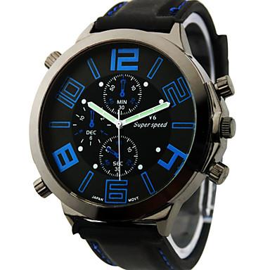 V6 Hombre Reloj de Pulsera Reloj Militar Cuarzo Cuarzo Japonés Esfera Grande Silicona Banda Encanto Negro