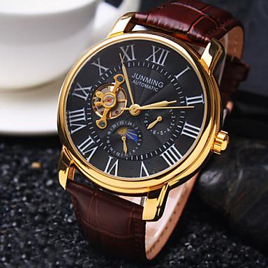 Heren Polshorloge mechanische horloges Automatisch opwindmechanisme Waterbestendig Hol Gegraveerd Leer Band Luxueus Zwart Bruin