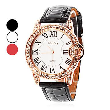 Kadın's Moda Saat Quartz PU Bant Işıltılı Siyah Beyaz Kırmızı