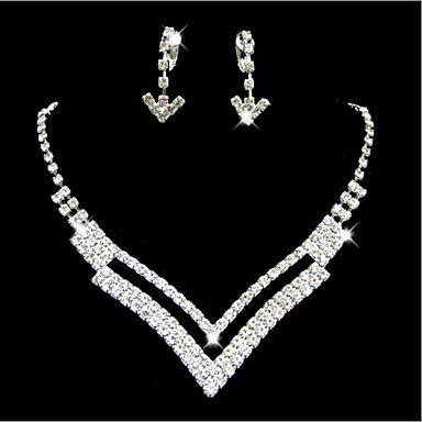 Mulheres Zircônia Cubica Conjunto de jóias Brincos Colares - Fofo Festa Casamento Fashion Dupla camada Branco Conjunto de Jóias Para