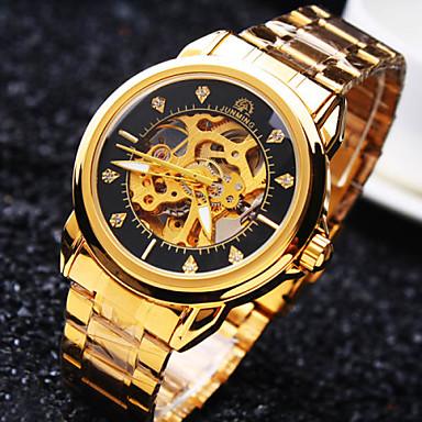 Heren Polshorloge mechanische horloges Automatisch opwindmechanisme Waterbestendig Hol Gegraveerd Roestvrij staal Band Glitter Luxueus