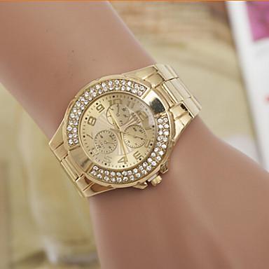 Homens Mulheres Casal Simulado Diamante Relógio Relógio de Moda Quartzo suíço Designer imitação de diamante Aço Inoxidável Banda Dourada