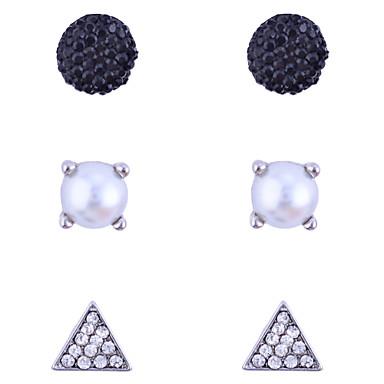 Sieraden Set Oorknopjes Kristal Modieus Parel Kristal Imitatieparel Legering Geometrische vorm Driehoekige vorm Zwart Sieraden VoorFeest