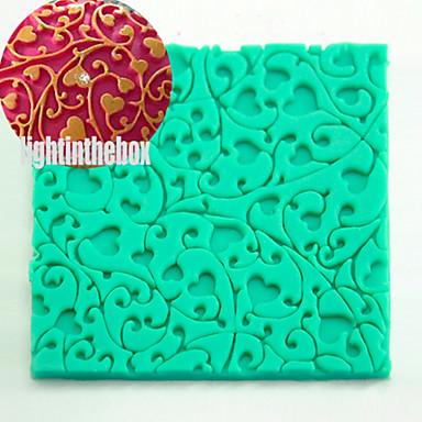 Textura do rattan do coração impressão da grão que imprime o biscoito diy silicone chocolate cor do molde do bolo cor aleatória