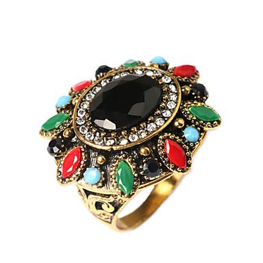 Dames Verguld Statement Ring - Modieus Schermkleur Ring Voor Feest