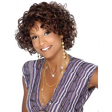 Synthetisch haar Pruiken Gekruld Afro-Amerikaanse pruik Zonder kap Carnaval Pruik Halloween Pruik Kort Bruin