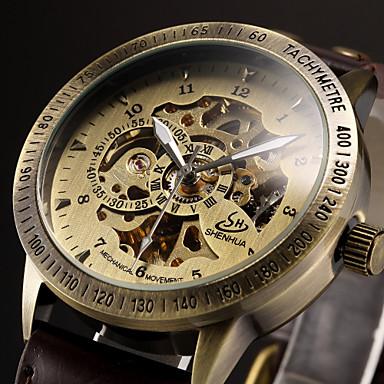 Heren Automatisch opwindmechanisme mechanische horloges / Polshorloge Hol Gegraveerd Leer Band Luxe Zwart / Bruin