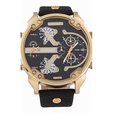 levne Pánské-Pánské Vojenské hodinky Náramkové hodinky Křemenný Kůže Černá / Hnědá / Khaki Kalendář Hodinky s dvojitým časem Cool Analogové Černobílá Černá Khaki Dva roky Životnost baterie / SOXEY SR626SW