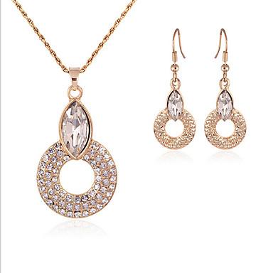 Dames Sieraden Set Edelsteen & Kristal Kubieke Zirkonia Verguld Gesimuleerde diamant Cirkelvorm Geometrische vorm Schattig Feest Werk
