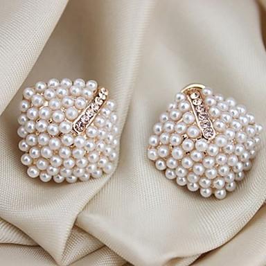 Mulheres Pérola Cristal Imitação de Pérola Chapeado Dourado Imitações de Diamante Brincos Curtos Punhos da orelha - Luxo Branco Forma