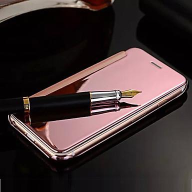 Para Capinha iPhone 5 Cromado / Espelho / Flip Capinha Corpo Inteiro Capinha Cor Única Rígida Couro PU iPhone SE/5s/5