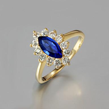 Feminino Anéis Grossos bijuterias Zircão Chapeado Dourado 18K ouro Jóias Para Casamento Festa Diário Casual