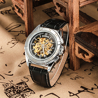 Heren Polshorloge mechanische horloges Automatisch opwindmechanisme Leer Band Zwart Bruin