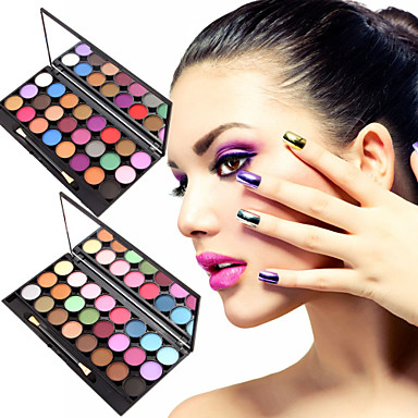 24 Colors Paleta de Sombras Mate Paleta da sombra Pó Conjunto Maquiagem para o Dia A Dia / Maquiagem de Fada