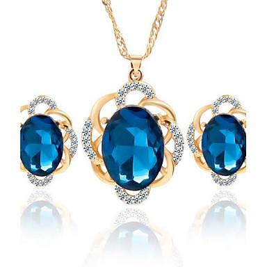 Dames Kristal Kristal Sieraden set Oorbellen Kettingen - Zwart Blauw Sieraden Set Voor Bruiloft Feest Dagelijks Causaal