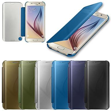 Недорогие Чехлы и кейсы для Galaxy S6 Edge-Кейс для Назначение SSamsung Galaxy S6 edge plus / S6 edge / S6 С функцией автовывода из режима сна / Зеркальная поверхность / Флип Чехол Однотонный ПК