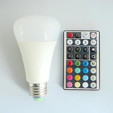 e26 / e27 levou globo lâmpadas a60 (a19) 3pcs de alta potência levou 550lm rgb 6500k dimmable controle remoto decorativo ac 100-240v
