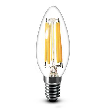 E12 Luzes de LED em Vela C35 6 leds COB Regulável Branco Quente 600lm 2700K AC 110-130V