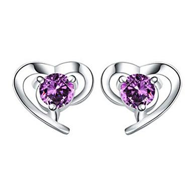 Dames Oorknopjes Kristal Liefde Hart Kostuum juwelen Sterling zilver Kristal Hartvorm Sieraden Voor Bruiloft Feest Dagelijks