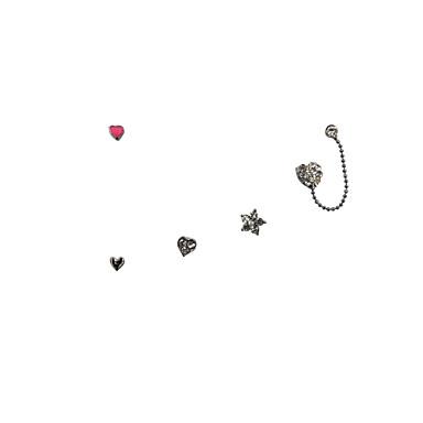 Brincos Curtos Brincos Set Coração Jóias de Luxo Strass Esmalte imitação de diamante Liga Formato de Coração Estrela Jóias ParaCasamento