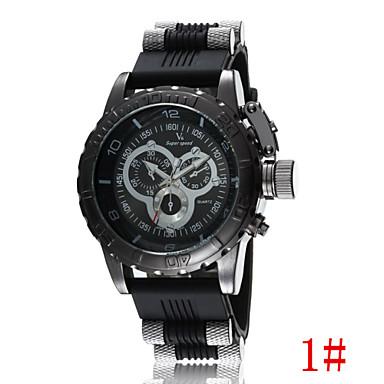 Masculino Relógio de Pulso Quartzo Gravação Oca Plastic Banda Preta Branco Azul Cinza # 1 # 2 # 3 # 4