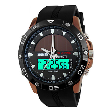 8916cc8ca5e SKMEI Men s Sport Watch Wrist Watch Solar Energy Quilted PU Leather Black  50 m Water Resistant   Waterproof Alarm Calendar   date   day Analog -  Digital ...