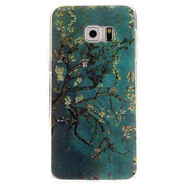 teste padrão de flor verde TPU caso capa Voltar para Samsung Galaxy S6 / S6 borda / beira S6 mais