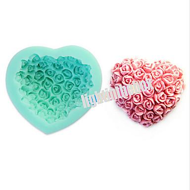Valentijn roos bloem hartvorm diy siliconen chocolade pudding suiker taart schimmel kleur willekeurig